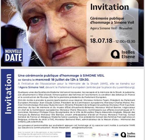 invitation cérémonie Simone Veil 18.07.2018 Ixelles
